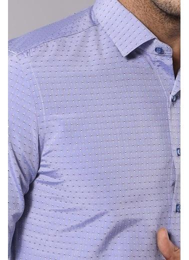 Wessi Erkek Armürlü Slim Fit Gömlek Mavi